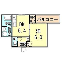 (仮称)神戸市灘区下河原通ヘーベルメゾン 2階1DKの間取り