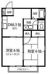 神奈川県川崎市多摩区菅北浦1丁目の賃貸アパートの間取り