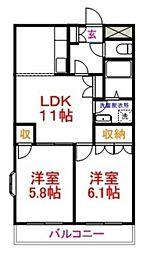 JR五日市線 秋川駅 徒歩12分の賃貸マンション 2階2LDKの間取り