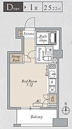 都営大江戸線 両国駅 徒歩8分の賃貸マンション 4階ワンルームの間取り