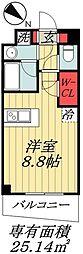 東京メトロ東西線 行徳駅 徒歩10分の賃貸マンション 2階1Kの間取り