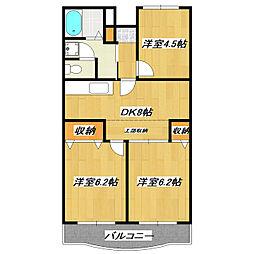 アメニティ芦田第3マンション[2階]の間取り