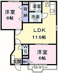 東京都羽村市緑ヶ丘4丁目の賃貸アパートの間取り