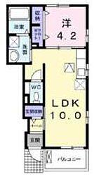 東武越生線 武州唐沢駅 徒歩15分の賃貸アパート 1階1LDKの間取り
