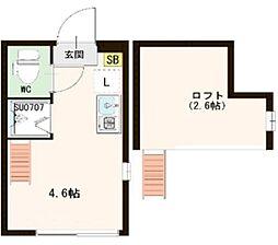 コンフォタリア高田馬場 2階ワンルームの間取り