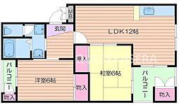 大阪府箕面市西小路5丁目の賃貸マンションの間取り
