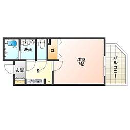 JR大阪環状線 福島駅 徒歩5分の賃貸マンション 2階1Kの間取り