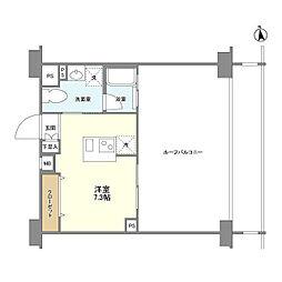 デュアルタップ大崎 8階ワンルームの間取り