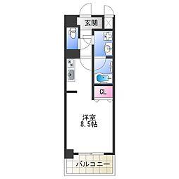 Osaka Metro千日前線 今里駅 徒歩5分の賃貸マンション 10階ワンルームの間取り