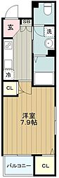 京王相模原線 京王多摩センター駅 徒歩21分の賃貸マンション 4階1Kの間取り