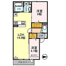 Osaka Metro御堂筋線 北花田駅 徒歩24分の賃貸アパート 1階2LDKの間取り