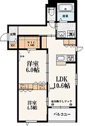 東京メトロ南北線 本駒込駅 徒歩9分の賃貸マンション 2階2LDKの間取り