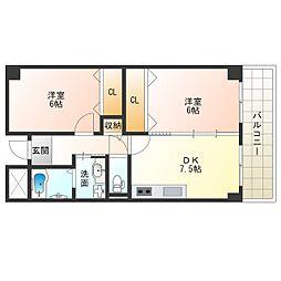 Osaka Metro中央線 九条駅 徒歩4分の賃貸マンション 5階2LDKの間取り
