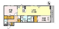 D-room堺市北区百舌鳥西之町 2階2LDKの間取り