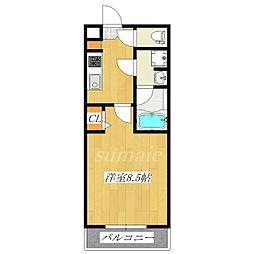 ラフィスタ志村坂下 5階1Kの間取り