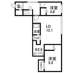 Consolatulle山鼻(コンソラチュール) 2階2LDKの間取り