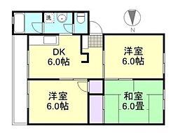 高越コーポ[1階]の間取り