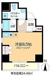 ラ・トルチュ亀戸 3階ワンルームの間取り