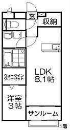 カンパニー8 1階1LDKの間取り