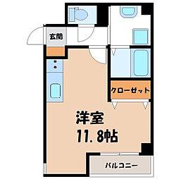 JR東北新幹線 宇都宮駅 徒歩9分の賃貸マンション 2階ワンルームの間取り