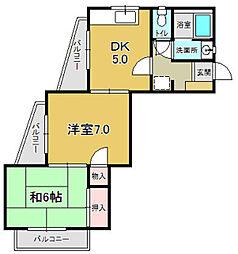 香ハイムII[203号室]の間取り