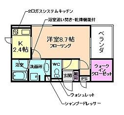 国際文化公園都市モノレール 豊川駅 徒歩16分の賃貸アパート 2階1Kの間取り