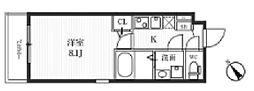 都営大江戸線 牛込柳町駅 徒歩9分の賃貸マンション 3階1Kの間取り