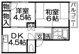 ワールドライフ中田[2階]の間取り