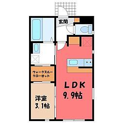 JR東北本線 宇都宮駅 バス20分 野尻下車 徒歩1分の賃貸アパート 1階1SKの間取り