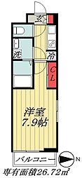 東京メトロ東西線 原木中山駅 徒歩5分の賃貸アパート 2階1Kの間取り