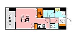 西鉄天神大牟田線 西鉄平尾駅 徒歩13分の賃貸マンション 9階ワンルームの間取り