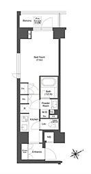 JR総武線 本八幡駅 徒歩3分の賃貸マンション 2階1Kの間取り