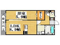 西鉄天神大牟田線 西鉄平尾駅 徒歩12分の賃貸アパート 3階1LDKの間取り