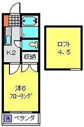 神奈川県横浜市港南区港南6丁目の賃貸アパートの間取り