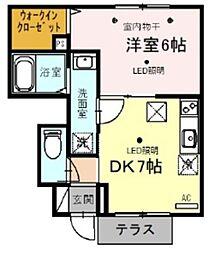 西武池袋線 武蔵藤沢駅 徒歩10分の賃貸アパート 1階1DKの間取り
