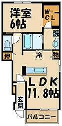 JR中央線 三鷹駅 バス20分 深大寺入口下車 徒歩6分の賃貸アパート 1階1LDKの間取り