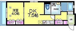東武伊勢崎線 鐘ヶ淵駅 徒歩6分の賃貸マンション 2階1DKの間取り