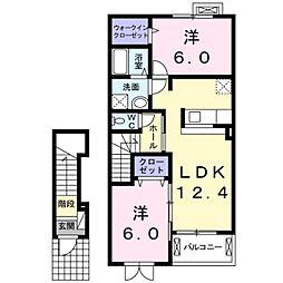 愛知県豊橋市松井町字中新切の賃貸アパートの間取り