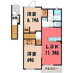 クラール B 2階2LDKの間取り