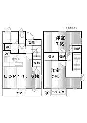 [テラスハウス] 東京都練馬区春日町5丁目 の賃貸【/】の間取り