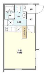 レヴァンテ笹塚 4階ワンルームの間取り