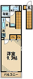 JR南武線 西国立駅 徒歩15分の賃貸アパート 2階1Kの間取り