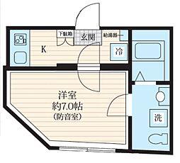 都営三田線 板橋区役所前駅 徒歩5分の賃貸マンション 3階1Kの間取り