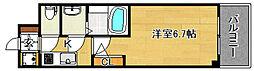 おおさか東線 JR淡路駅 徒歩7分の賃貸マンション 2階1Kの間取り