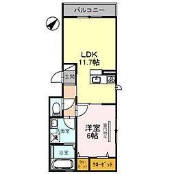 Osaka Metro御堂筋線 なかもず駅 徒歩4分の賃貸アパート 2階1LDKの間取り