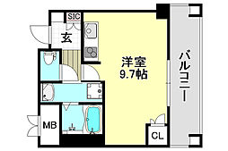 JR東海道・山陽本線 岸辺駅 徒歩9分の賃貸マンション 7階ワンルームの間取り