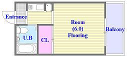 レスポワール 4階ワンルームの間取り