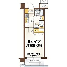 リビングステージ広瀬川 7階1Kの間取り
