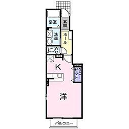 岡山県倉敷市中畝9丁目の賃貸アパートの間取り