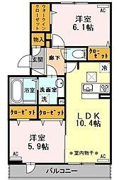 西武拝島線 武蔵砂川駅 バス19分 三本榎下車 徒歩3分の賃貸アパート 1階2LDKの間取り